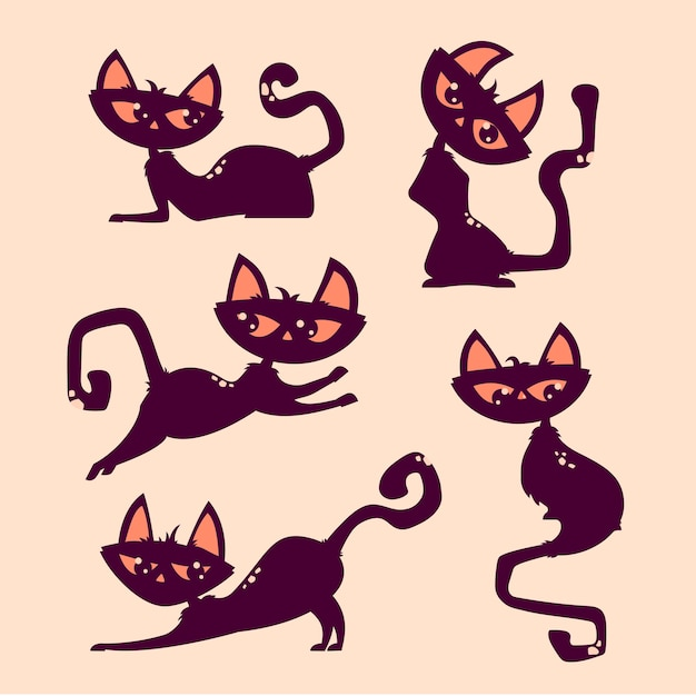 Halloween cat pose de saut mignon Vecteur Premium