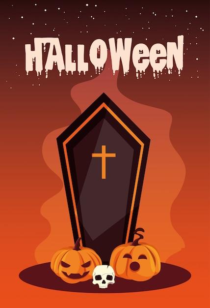 Halloween avec cercueil et icônes Vecteur Premium