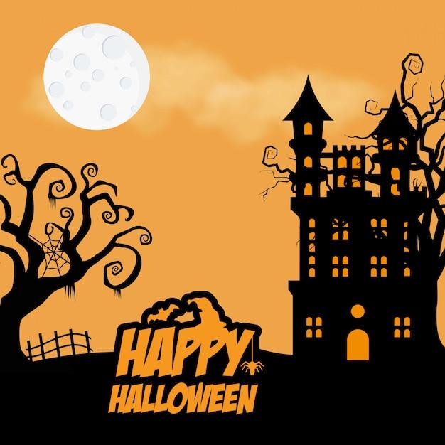 Halloween chassé arbre et maison Vecteur Premium