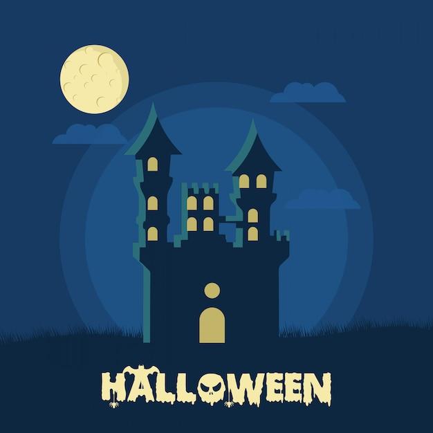 Halloween a chassé la maison Vecteur Premium