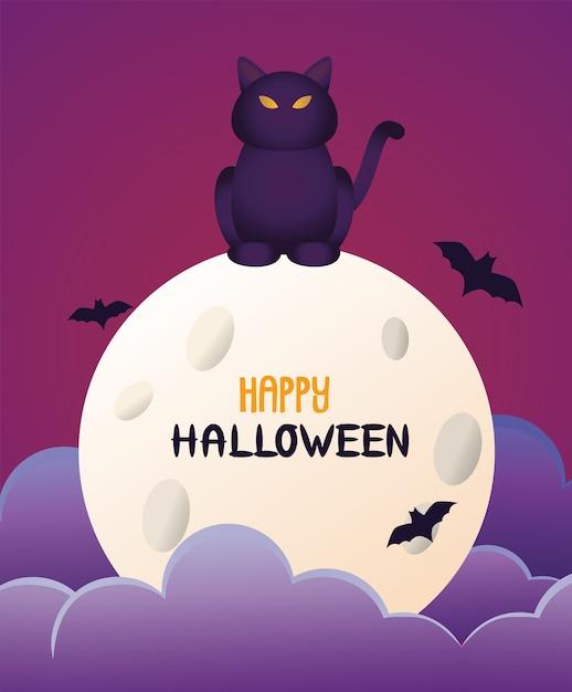 Halloween Chat Noir Et Lettrage Dans La Lune Et Les Chauves-souris Vecteur Premium