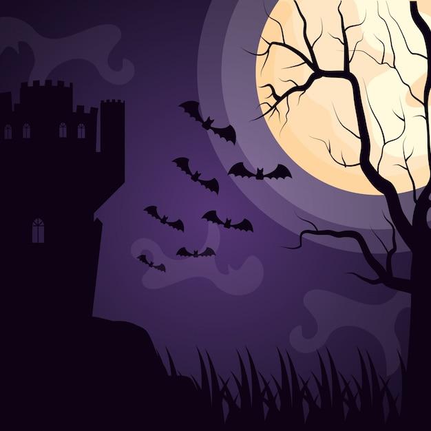 Halloween château sombre avec des chauves-souris en vol Vecteur gratuit