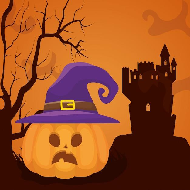 Halloween château sombre avec des citrouilles Vecteur gratuit