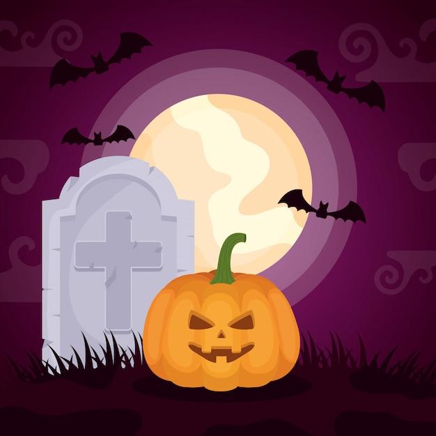 Halloween cimetière sombre avec citrouille Vecteur gratuit