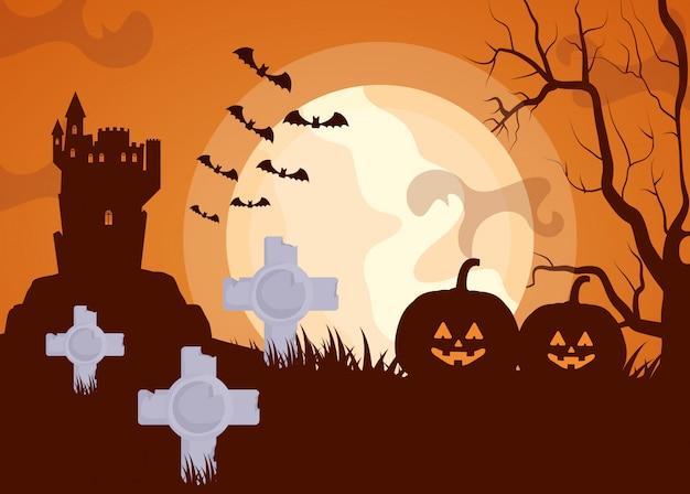 Halloween cimetière sombre avec des citrouilles Vecteur gratuit