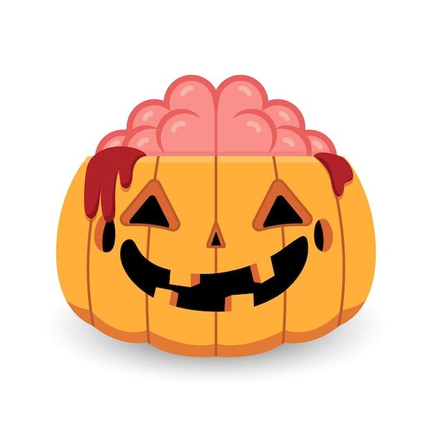 Halloween citrouille zombie cerveau ouvert Vecteur Premium