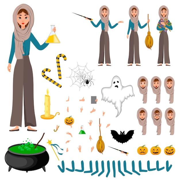 Halloween constructeur défini de personnages féminins. fille avec des attributs de vacances dans ses mains. Vecteur Premium