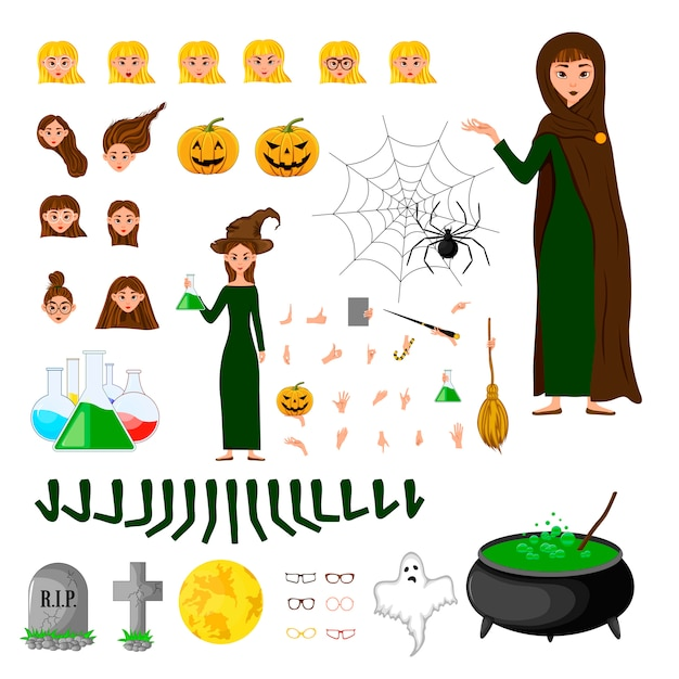 Halloween constructeur défini de personnages féminins. fille avec des attributs de vacances. Vecteur Premium