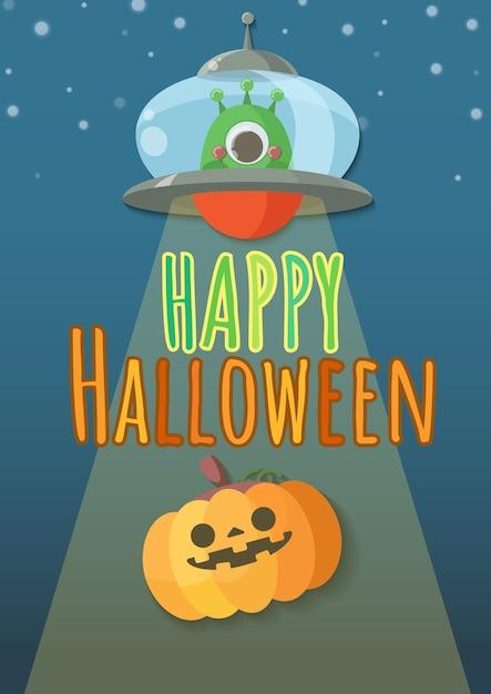 Halloween découpant des citrouilles enlevées par des extraterrestres dans des ovnis. Vecteur Premium