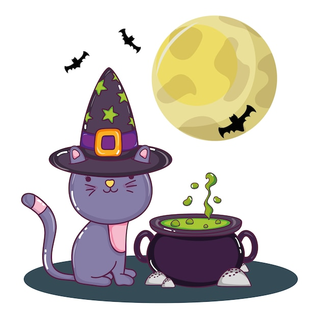Halloween dessins animés mignons Vecteur Premium