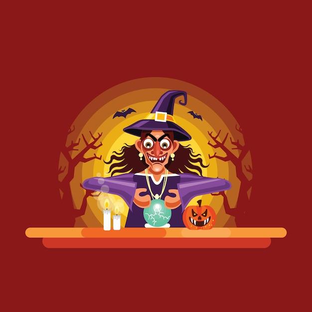 Halloween diseuse de bonne aventure avec boule de cristal Vecteur Premium