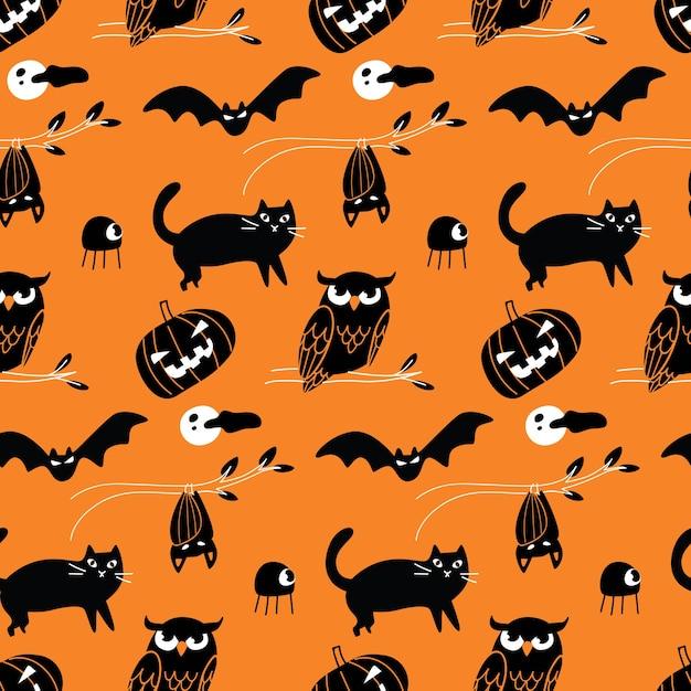 Halloween doodle fond transparent Vecteur Premium