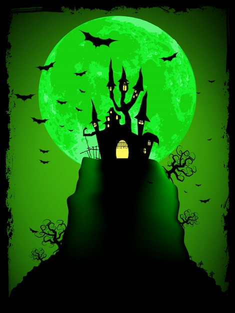 Halloween Effrayant Avec Une Abbaye Magique. Fichier Vectoriel Inclus Vecteur Premium
