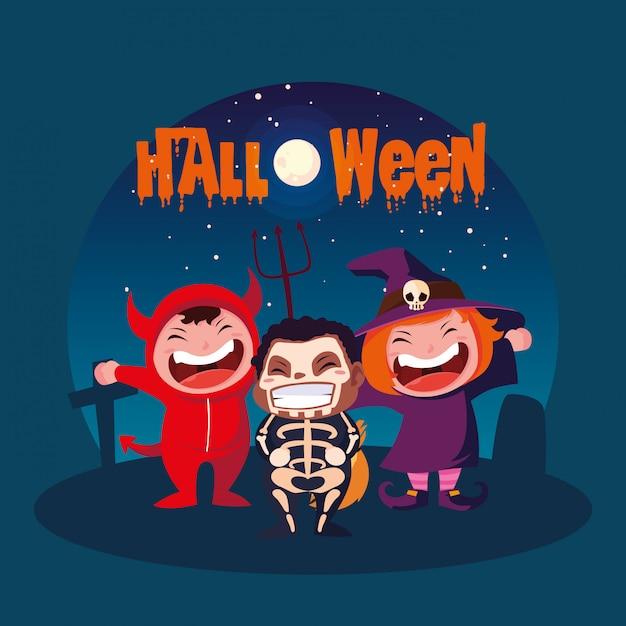 Halloween avec des enfants déguisés Vecteur Premium