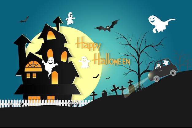 Halloween avec la fête des fantômes. Vecteur Premium