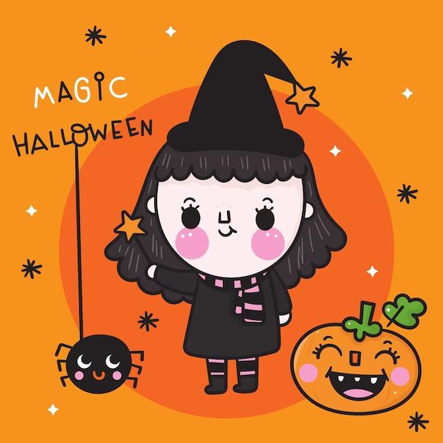 Halloween Fille Sorciere Mignonne Avec Dessin Anime Kawaii Citrouille Et Araignee Vecteur Premium
