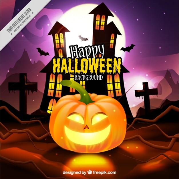 Halloween fond de la citrouille et de maison hant e t l charger des vecteurs gratuitement - Dessin de maison hantee ...
