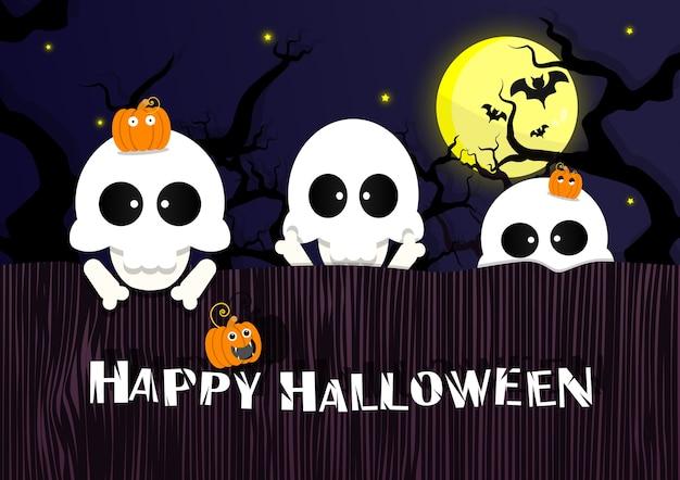 Halloween fond de squelettes sur le mur au cimetière. Vecteur Premium