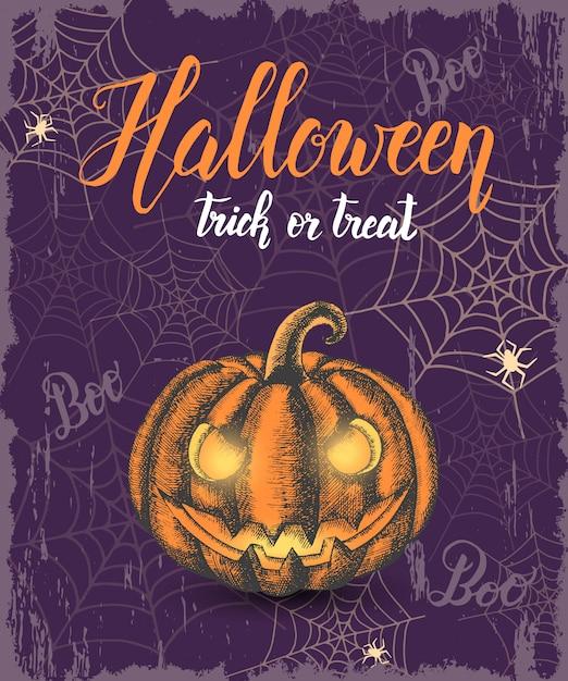 Halloween fond vintage avec citrouille d'halloween couleur dessinés à la main Vecteur Premium