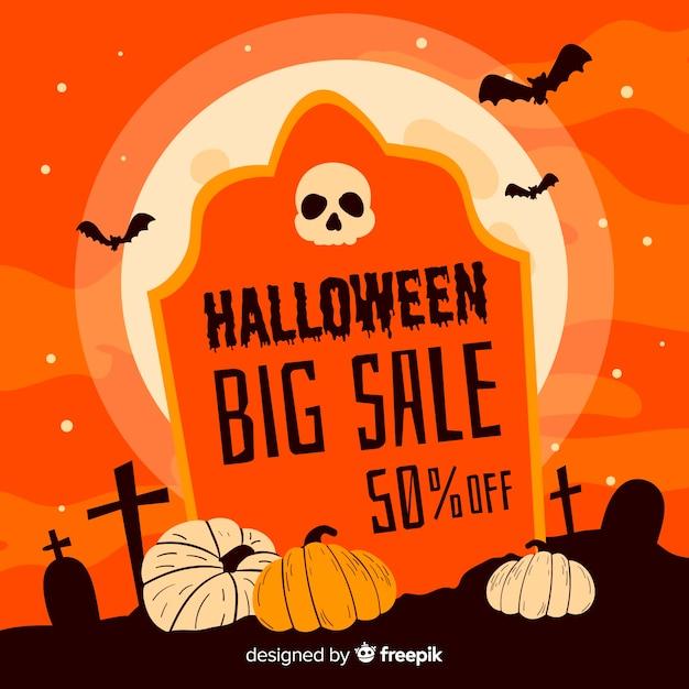 Halloween grande vente sur la pierre tombale Vecteur gratuit