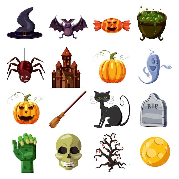 Halloween icônes définies. bande dessinée illustration de 16 icônes vectorielles halloween pour le web Vecteur Premium