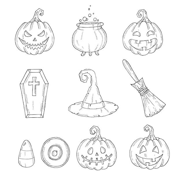 Halloween Icônes Ensemble De Citrouille Jack, Chapeau De Sorcière, Balai, Chapeau, Bonbons, Bonbons Maïs, Cercueil, Pot Avec Potion Vecteur Premium