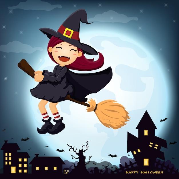 Halloween avec la jolie sorcière à la pleine lune. Vecteur Premium