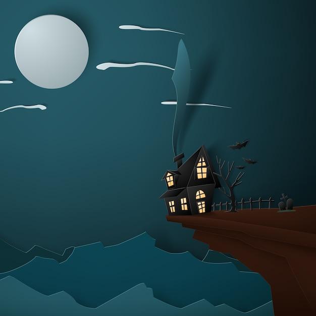 Halloween maison sur le concept d'art de papier de fond de lune. Vecteur Premium