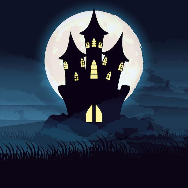 Halloween nuit noire avec scène de château Vecteur gratuit