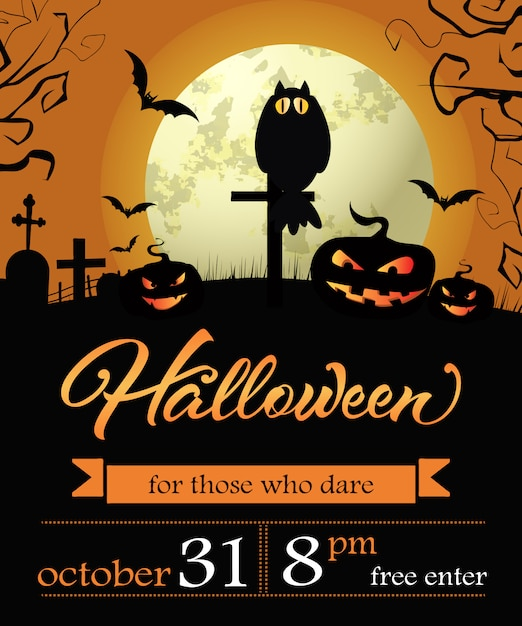 Halloween, octobre trente premier lettrage avec citrouilles et lune Vecteur gratuit