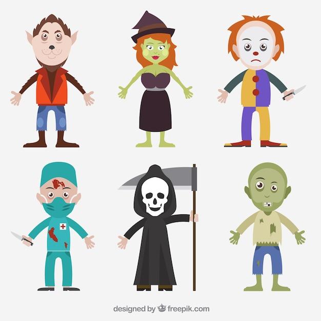 Halloween pack de personnages Vecteur gratuit
