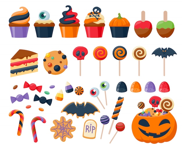 Halloween party coloré bonbons icônes définies illustration vectorielle. Vecteur Premium