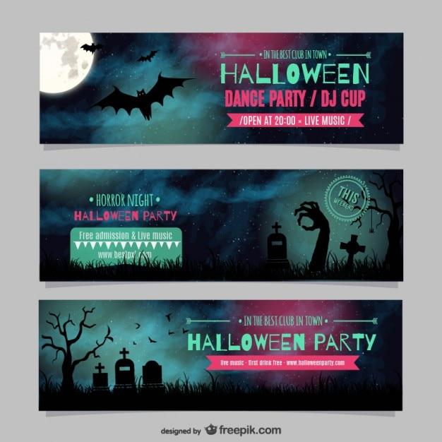 Halloween Party De Danse Modèles De Bannières Vecteur Premium