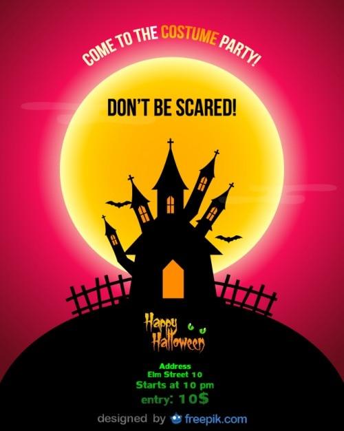 Halloween party flyer nuit rouge Vecteur gratuit