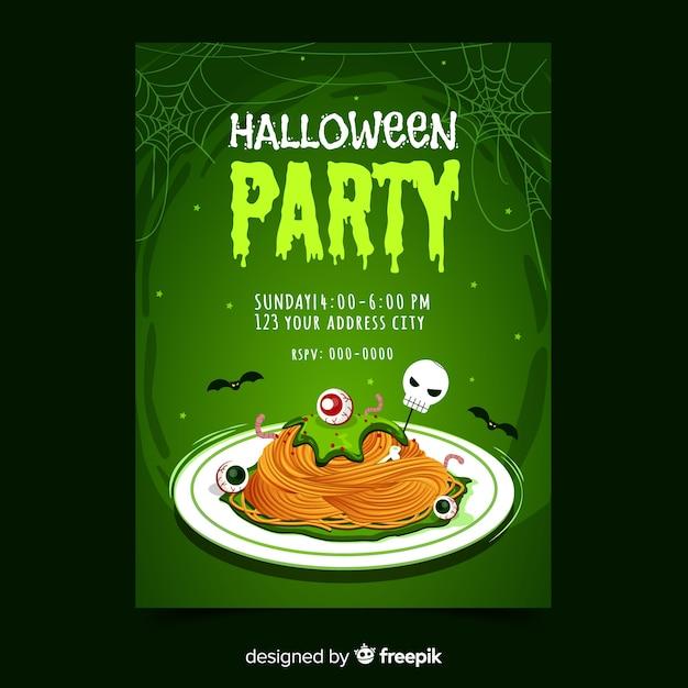 Halloween party poster template design dessiné à la main Vecteur gratuit