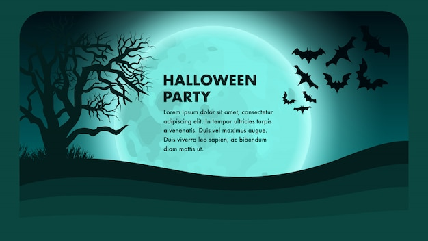 Halloween party vector banner. dessin effrayant. Vecteur Premium