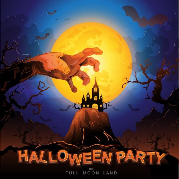 Halloween party vector concept terre de pleine lune Vecteur Premium