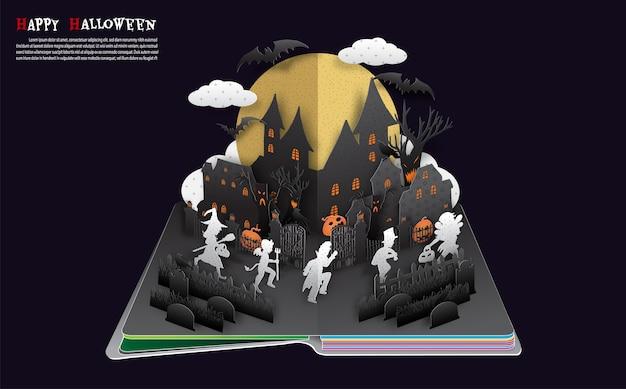 Halloween pop up book du vecteur. Vecteur Premium
