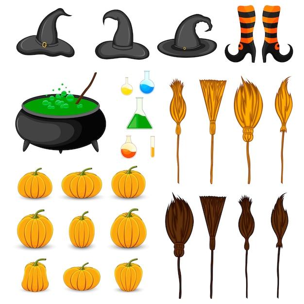 Halloween Sertie D'attributs Traditionnels Vecteur Premium