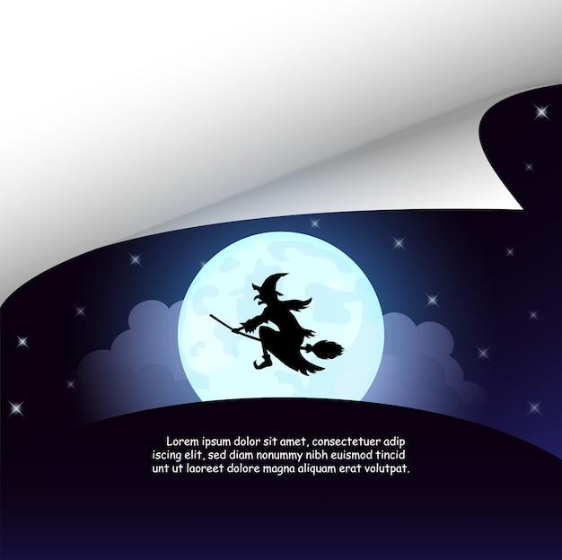 Halloween avec la sorcière à la pleine lune. Vecteur Premium