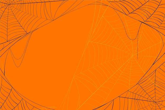 Halloween Toile D'araignée Fond Orange Vecteur Premium