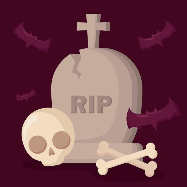 Halloween tombe avec crâne et chauves-souris Vecteur gratuit