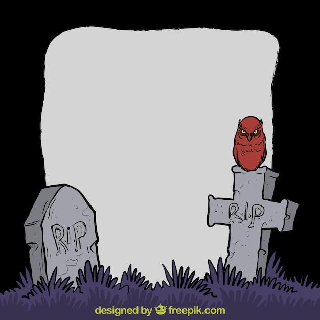 Halloween tombe fond Vecteur gratuit