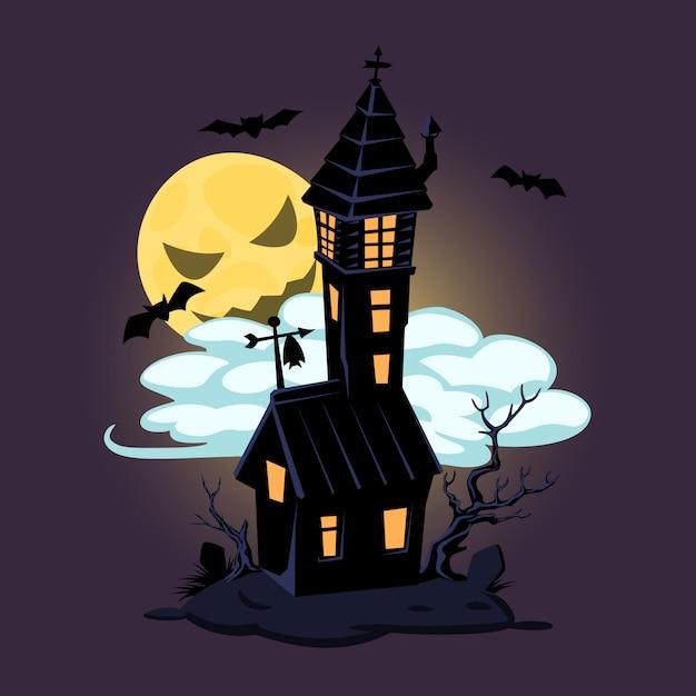 Halloween vieille maison et lune. conception de vecteur pour des impressions, des t-shirts, des affiches de fête et des bannières Vecteur Premium