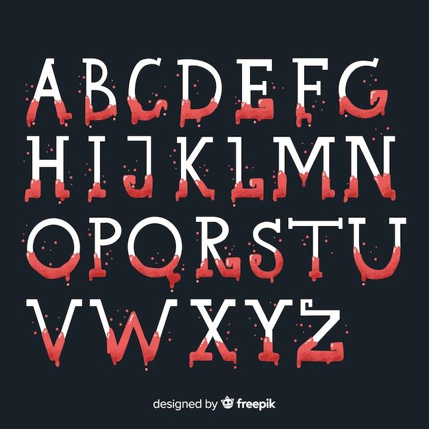 Halloween vintage avec alphabet de sang Vecteur gratuit