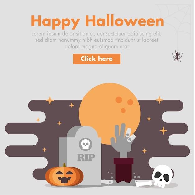 Halloween zombie hand design plat illustration Vecteur Premium