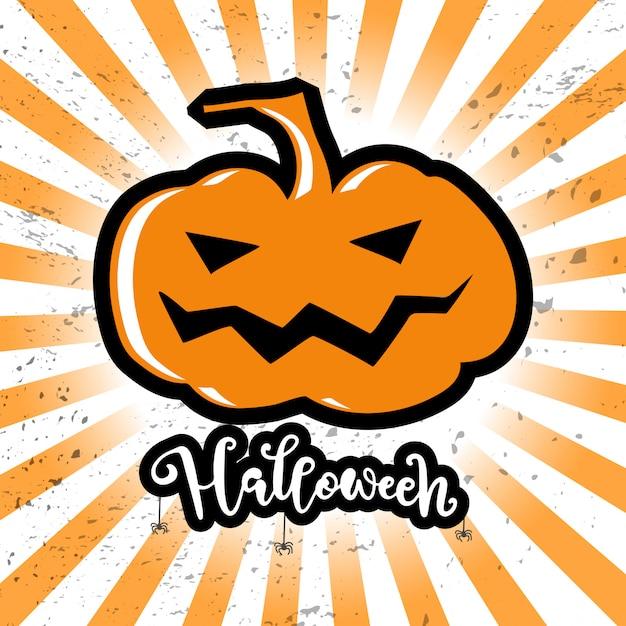 Hallowen Carte Avec Grosse Plumpkin Et Script Halloween Vecteur Premium
