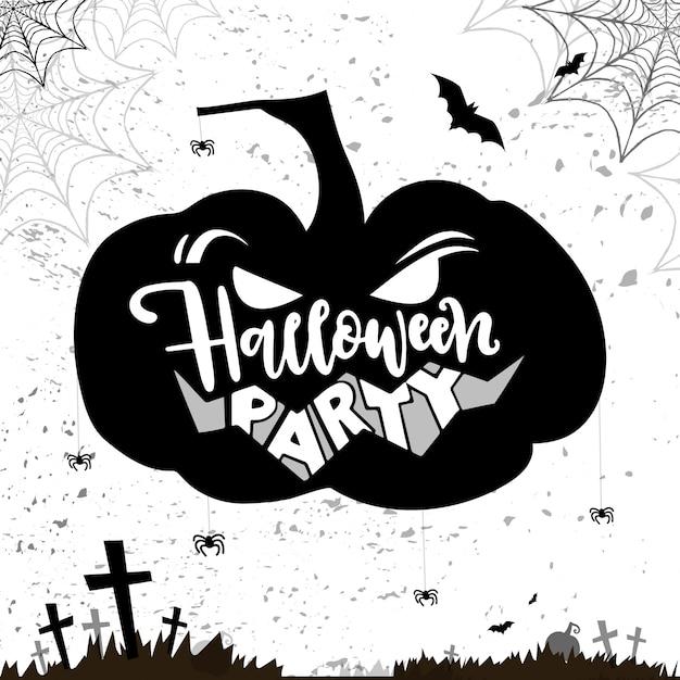 Hallowen Carte Avec Plumpkin En Colère Et Script Fête D'halloween Vecteur Premium