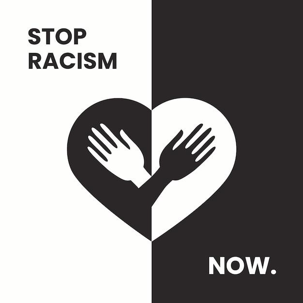Halte Au Racisme Illustré Vecteur gratuit