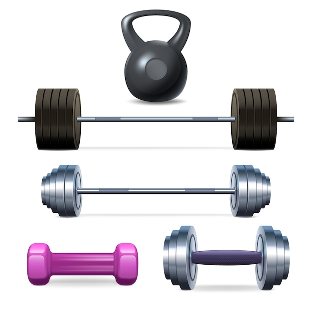 Haltères haltères et fitness Vecteur gratuit